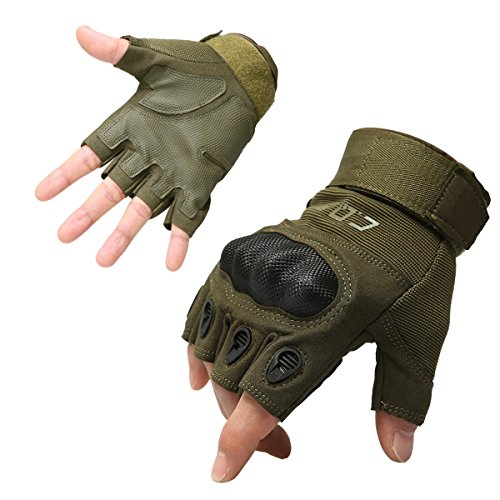 CQB Outdoor Tactical Gloves Riding Cycling Carbon Fiber Hard Knuckle Half Finger Armor Men's Gloves (Fingerless Green, XL)