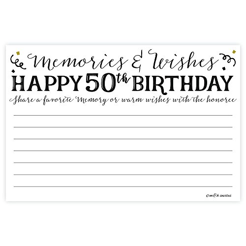 50th Birthday Memories and Wishes Cards (50 Count)