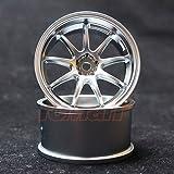 Overdose WORK EMOTION D9R 1/10 Drift Wheels 2pcs Matte Chrome OFF+3 #OD1796