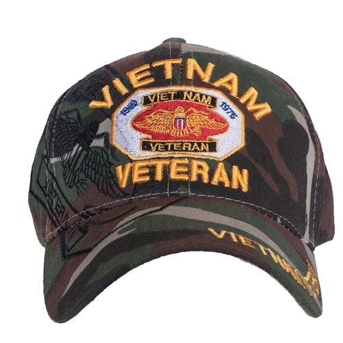 mbroidered Ball Cap, Vietnam Veteran/Camo (Vietnam Military Ball Cap)