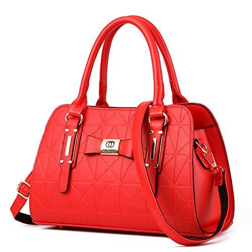 LiZhen Ms. pacchetti nuovi eleganti nella mezza età mamme vecchio borsa donna minimalista mano selvatici polizze di carico tracolla messenger bag, core package di rosso