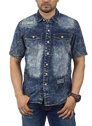 BRANDS UNLIMITED Mens RWW122M Denim Casual Shirt with Patterns and Short Sleeves RWW122M Vintage Denmiss (Acid Wash Denim Shirt)