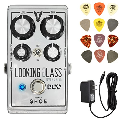 Digitech DOD Looking Glass Overdrive Effects Pedal Bundle with 9V Power Supply and Dunlop PVP101 Pick Pack