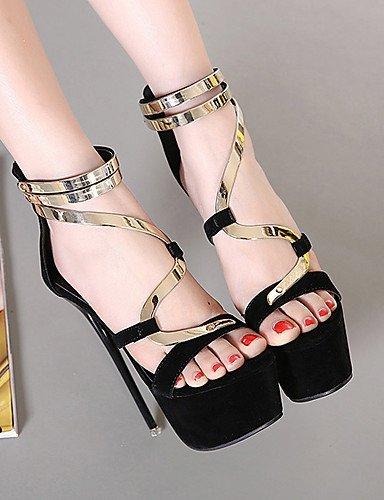 LFNLYX Zapatos de mujer-Tacón Stiletto-Tacones / Plataforma / Punta Abierta-Sandalias-Vestido / Fiesta y Noche-Vellón-Negro Black