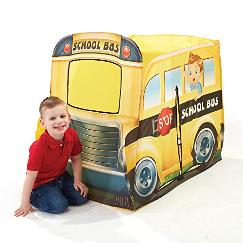 Playhut School Bus EZ Vehicle Pop-Up Play Tent - Easy Pop-Up and Fold Down with Multiple Doors and Windows, Durable Materials