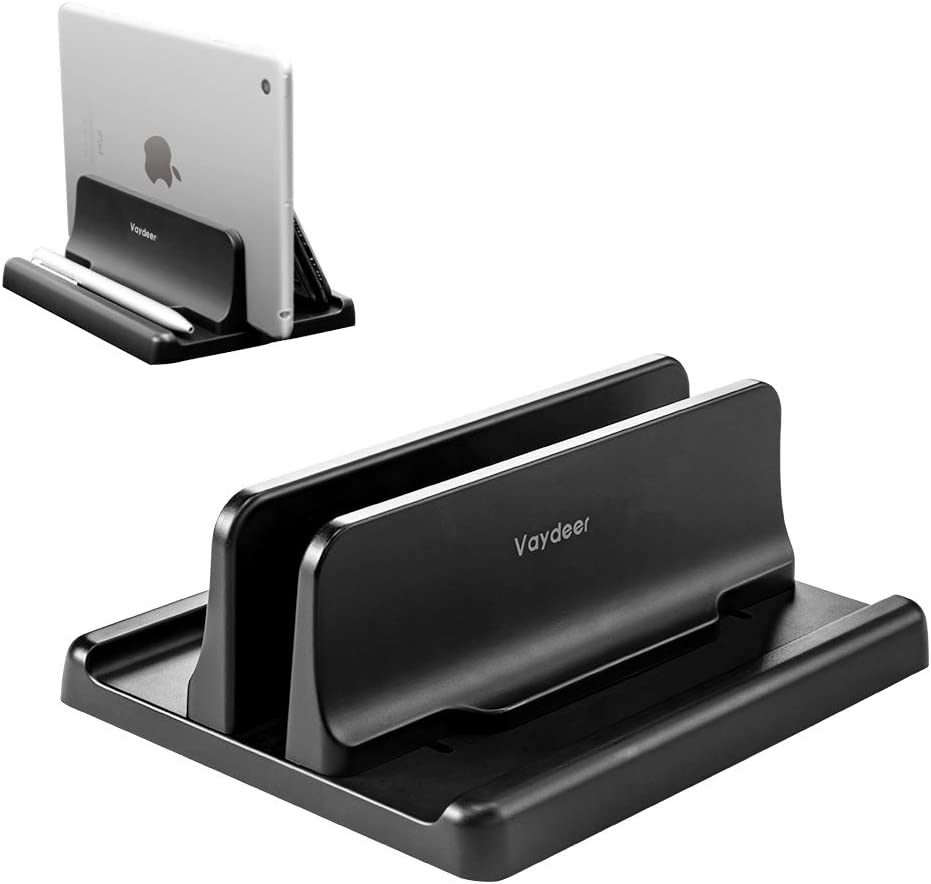Amazon Com Vaydeer Vertical Laptop Stand Holder Plastic Adjustable Desktop Notebook Dock Space Saving 3 In 1 For All Macbook Pro Air Mac Hp Dell Microsoft Surface Lenovo Up To 17 3 Inches Black Electronics