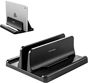 Vaydeer Vertical Laptop Stand Holder Plastic Adjustable Desktop Notebook Dock Space-Saving 3 in 1 for All MacBook Pro Air, Mac, HP, Dell, Microsoft Surface, Lenovo, up to 17.3 inches (Black)