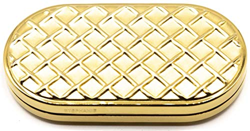Gold Slim Honeycomb Print Folding Compact Pocket Makeup Mirror Double Sided (5x magnification + 1x magnification) ()