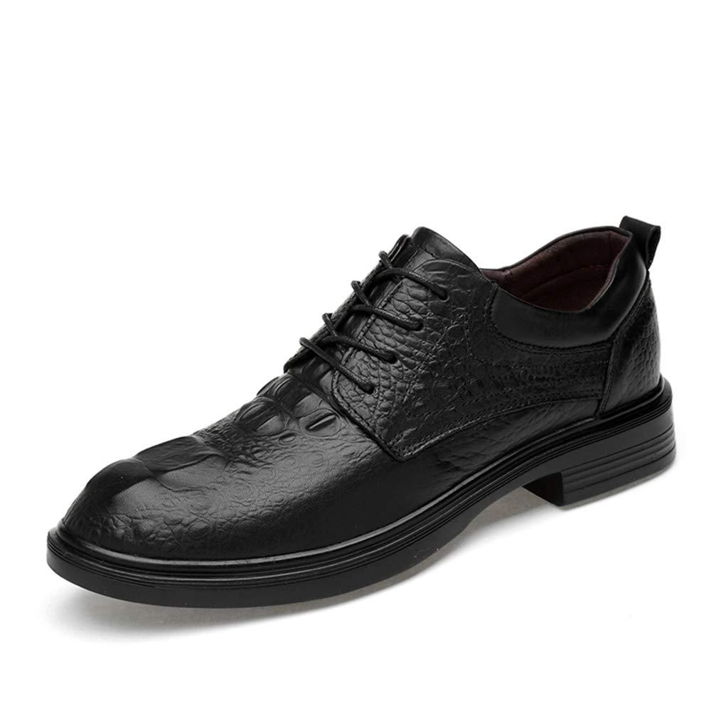 Crocodile Black GBY Men's Business Casual Oxfords Comfortable Crocodile Pattern Faux Fleece Inside Low Top Lace Up Big Size Formal shoes