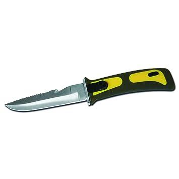 Mil-TEC cuchillo de buceo con funda de plástico amarillo ...