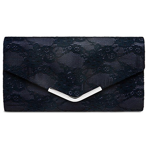 Dark Metal And Clip Caspar Ta429 Envelope Lace elegant Evening With Bag Clutch Blue Ladies 7PvqwUPx