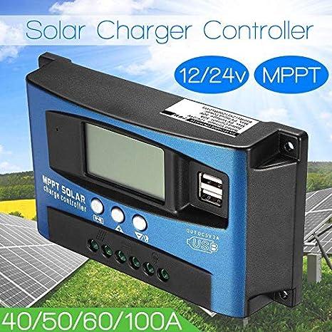 24V de r/égulateur de Charge de Panneau Solaire lzndeal 40A-100A MPPT Dispositif de Suivi de Mise au Point Automatique 12V