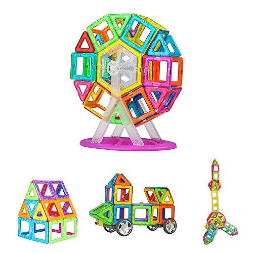 Crenova Magnetische Bausteine Regenbogen Set 53 Teile Inspirierender Standard Bausatz-Kreative und Pädagogische Spielzeuge-Riesenrad & Aufbewahrungstasche