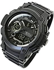 [LAD WEATHER] Triple time/100m Water Resistance/ Analog Digital Display/Military Watch