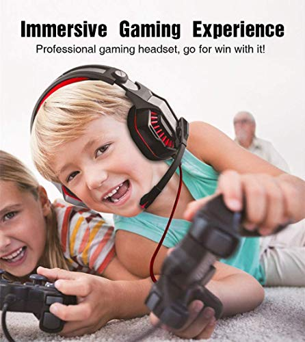 ENVEL Gaming Headset for PS4 with Mic,PC,Xbox One,Laptop,Surround Sound Over Ear Noise Cancelling Headphone with LED Lights Volume Control for Smartphone,Computer,Nintendo Switch(Black&Red)