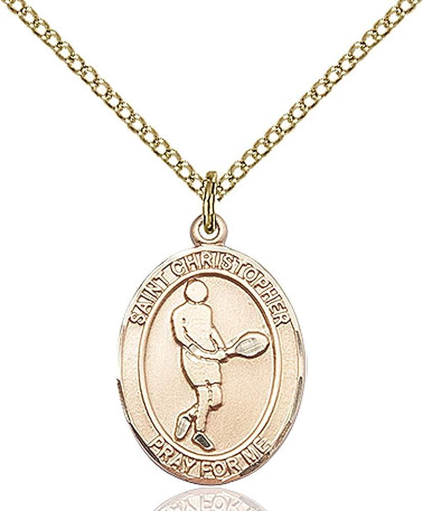 Christopher//Tennis Pendant GF Lite Curb Chain Patron Saint Travelers//Motorists 3//4 x 1//2 14kt Gold Filled St