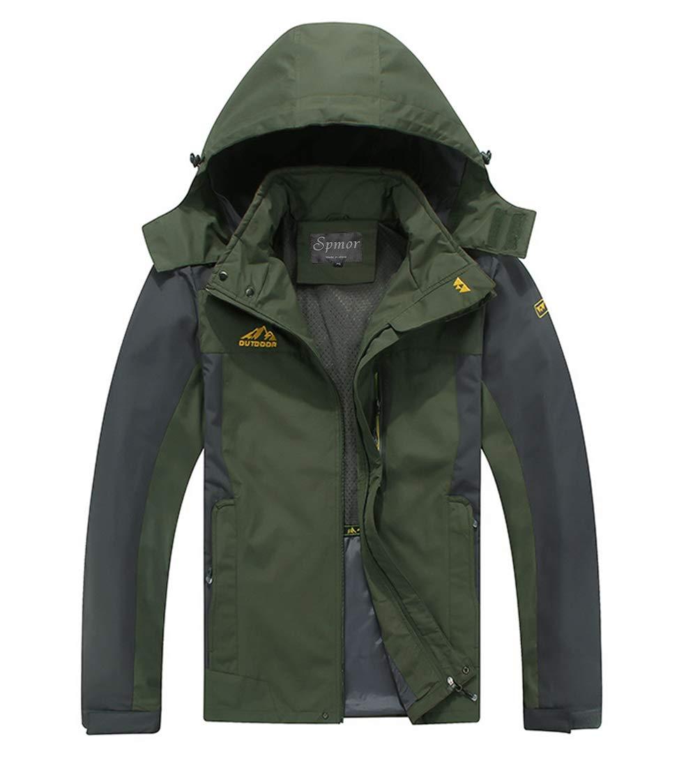 Spmor Men's Outdoor Sports Hooded Windproof Jacket Waterproof Rain Coat Army Green Small