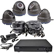 kenable CCTV Kit 4x 720P AHD Black Cameras with 18m (~9999) Cables & 4 Channel 1TB DVR