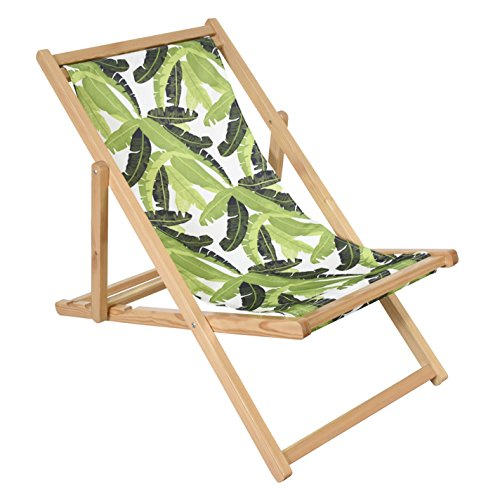 Astella Adjustable Wooden Cabana Beach Chair, Green Banana Leaf (Lounge Cabana Beach)