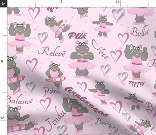 Spoonflower Ballet Hippo Fabric - Hippo Ballet Pink Nursery Dancingwith Hippo Ballerina Ballet Dance Tutu Dance Words Hearts by Dancingwithfabric Printed on Basic Cotton Ultra Fabric by The ()