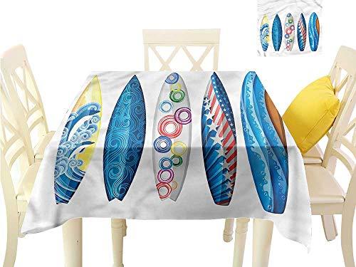 (WilliamsDecor Small Tablecloth Surfboard,Curvy Ocean Waves Pattern Picnic Cloth W 50