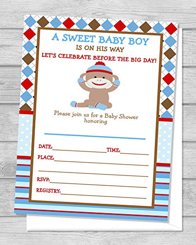 Sock Monkey Invitations (Sock Monkey Baby Shower Invitations for Boy, Mod Monkey Fill In the Blanks, Set Of 20, Sock Monkey Invitations With Envelopes, Monkey Boy Baby Shower Invites, 4.25