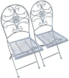Woodside 2 x Folding Metal Garden Patio Dining Chairs Outdoor Furniture