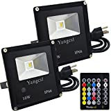 Yangcsl Timing Remote Control 10W RGBW LED Flood Lights, Color Changing LED Security Lights, RGB and Warm White, Waterproof LED Floodlight, US 3-Plug, Wall Washer Light (Pack of 2)