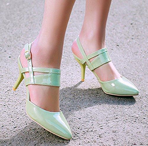 Vert Avec Bout Kitten Mode Boucle Sandales Aisun Pointu Femme heel pxvq0az