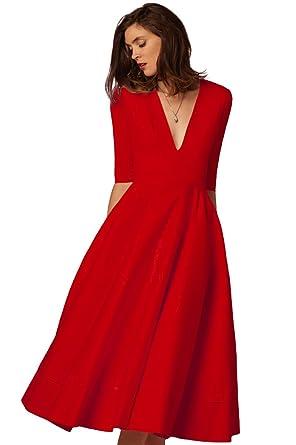 Tiefer Kleider V Cocktailkleid Partykleid Damen Midi Yijee Elegant Ausschnitt 0nwPZNOX8k