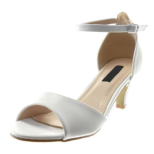 52779ca233 Angkorly - Scarpe Moda Sandali Decollete con Tacco con Cinturino alla  Caviglia Elegante Donna Tanga Tacco a Cono Alto 6.5 CM
