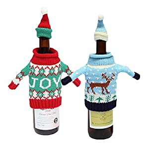HOAEY Christmas Wine Bottle Cover, Christmas Holiday Hat Knit Cover Bags for Christmas Home Party Decorations- Set of Two (Joy&Deer)