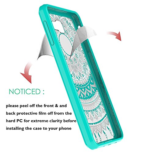 Galaxy J7 Prime Case (Only Fit G610 2016 Unlocked International, Not Fit MetroPcs and T-Moible 2017) with HD Screen Protector,AnoKe Mandala Slim Cute Case For Samsung Galaxy J7 Prime TM CH Mint