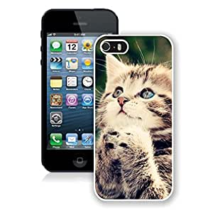 Featured Desin Lovely Blue Eyes Christmas Cat Iphone 5s Case,Phone Case For Iphone 5,Iphone 5 White TPU Cover