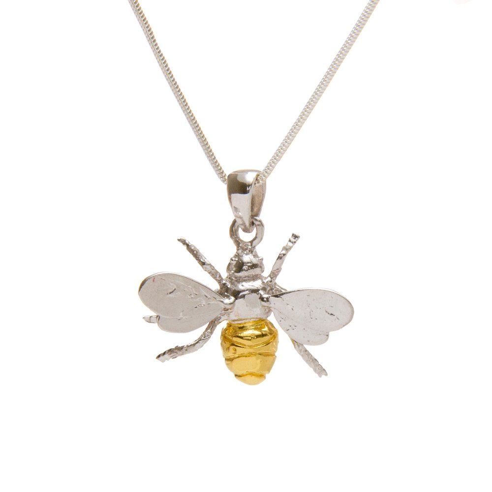 Sterling silver & gold Bumblebee Pendant with free 18' chain