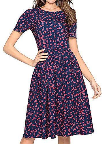 Women's Floral Vintage Dress Short Sleeve Midi Swing Dresses with Flare(Red,L)