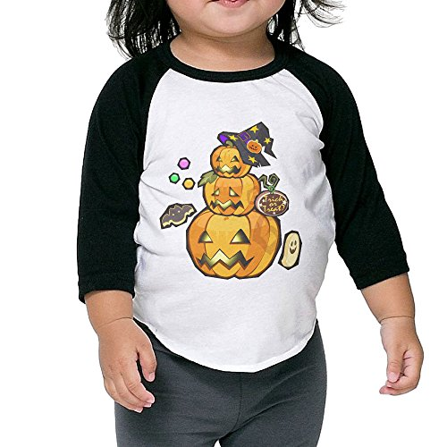 Cool Graphic Halloween Pumpkin Boys T-shirt 3/4 Sleeves Crew Neck Cotton Soft And Cozy Black Size 5-6 Toddler -