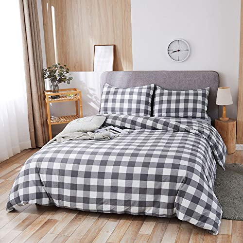 SORMAG 100% Washed Cotton Duvet Cover 3 Piece, Comforter Cover King Size, Ultra Soft with Zipper Closure, Corner Ties, Simple Bedding Style, Gray White Plaid