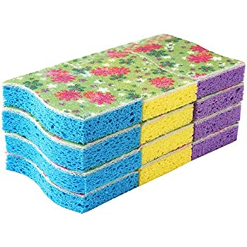 MR. SIGA Cellulose Scrub Sponge, 12 Count, Size 11 x 7 x 2.2cm