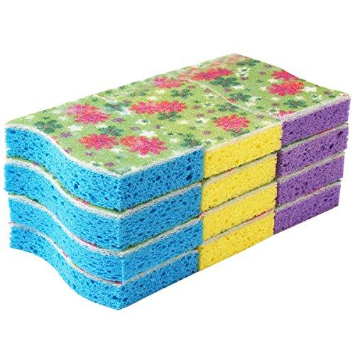MR.SIGA Cellulose Scrub Sponge, 12 Count, Size 11 x 7 x 2.2cm (Cellulose Scrub Sponge)