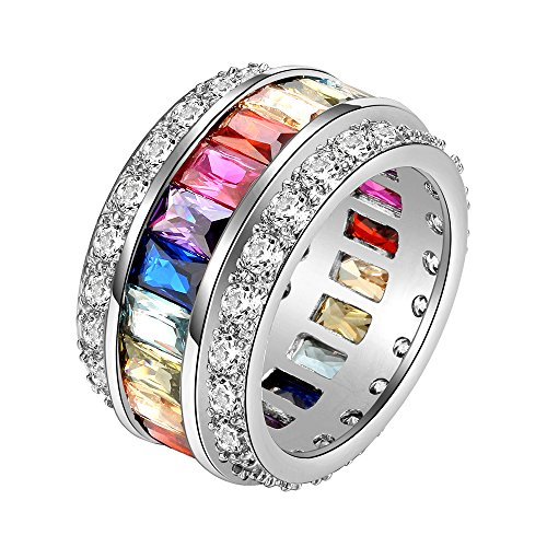 Lavencious Multi-Color Clear CZ Ring Rainbow Color Cubic Zirconia Statement Cocktail Jewelry Size 6-9 for Women (8)