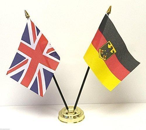 Regno Unito & Germania Cresta Dell'aquila Matrimoniale Amicizia Tabella Flag Impostato + Base emblems gifts