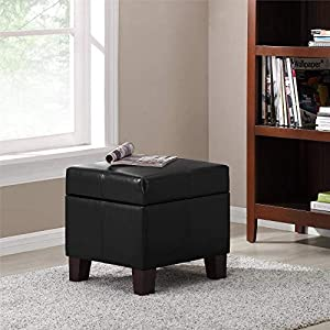 Dorel Living Storage Ottoman, Small, Black