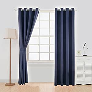 """YOJA Thermal Insulated Window Covering Blackout Livingroom Curtains Grommet Top Drapery,Navy Blue,52""""W x 84""""L (1 Panel)"""