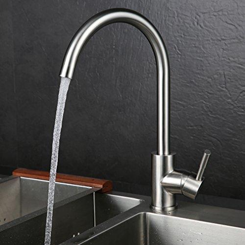 Kinse® 2 Jahre Garantie Gebürstet Silber Küchearmatur Mischbatterie Spültischarmatur 360°Drehbar aus Edelstahl SUS304 mit ABS Bubbler Kann Wasser 30% Sparen für Küche Waschbecken