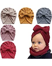 Newborns Baby Girl Caps and Scratch Mittens Infant Cotton Bow Hat No-Scratch Mitts Set Nursery Beanie