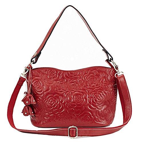 Womens Rose Embossed Leather Shoulder Bags Ladies Cross Purses Zipper Handbags Satchel (red) -