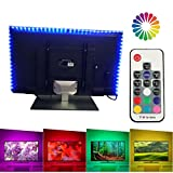 under cabinet hdtv - LUXJET TV Backlight LED Light Strip with Remote, 6.56ft (4x50cm), USB Powered, RGB Color Changing for 40-60in HDTV,Desktop PC Monitor,Home Theater, Under Cabinet,Showcase Decoration