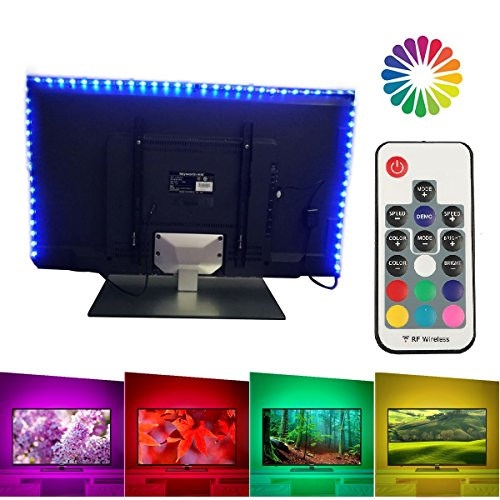 LUXJET TV Backlight LED Light Strip with Remote, 6.56ft (4x50cm), USB Powered, RGB Color Changing for 40-60in HDTV,Desktop PC Monitor,Home Theater, Under Cabinet,Showcase Decoration