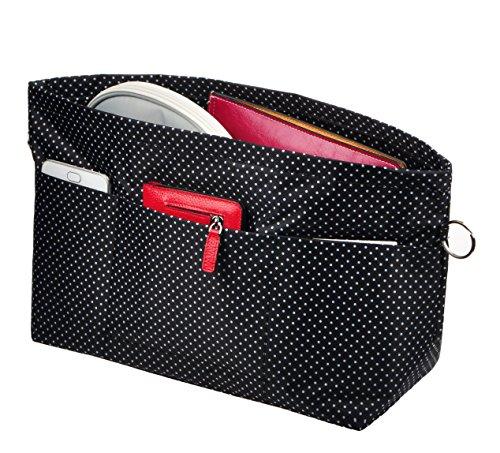 Vercord Handbag Purse Tote Pocketbook Organizer Insert Zipper Closure 11 Pockets, Black Dots L ()